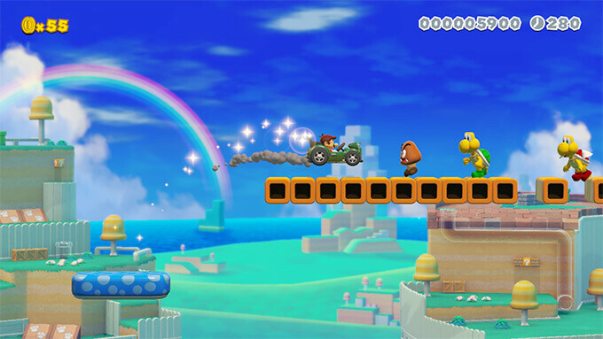 Video of Mario hopping into a Koopa Troopa Car and taking it for a joy ride.