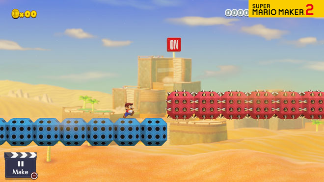 Video of Mario trying to avoid the spikes on a series of Spike Blocks.