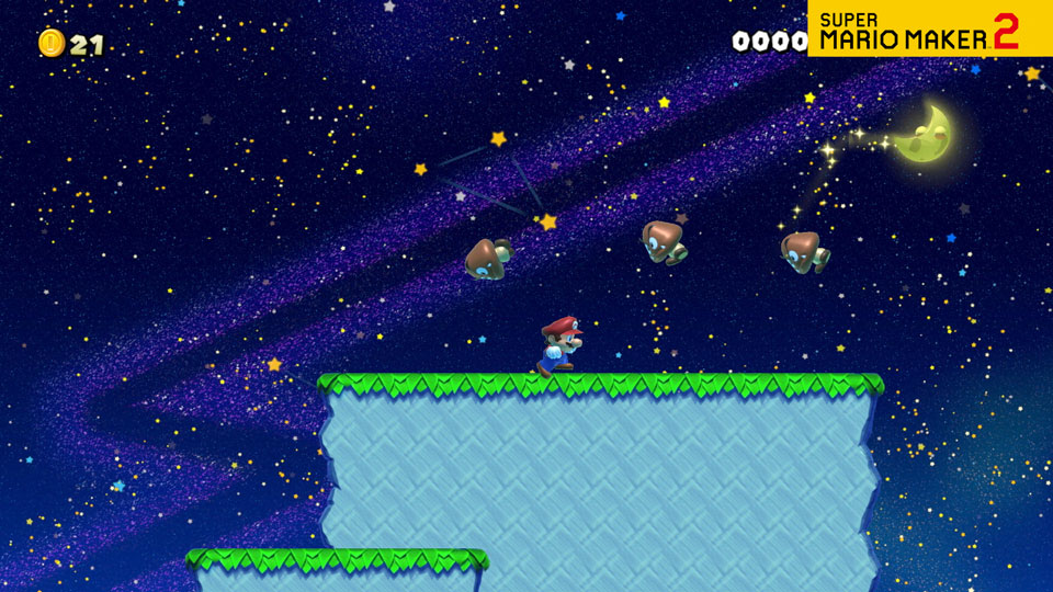 A video of Mario hoping across a nighttime version of a New Super Mario Bros. U. style course.