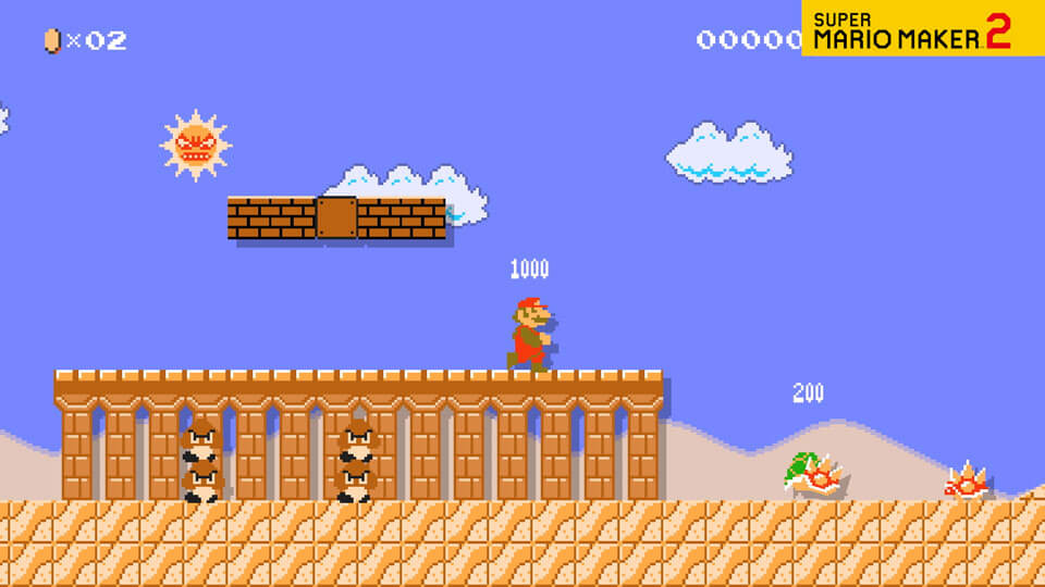 A video of Mario racing across the desert in a Super Mario Bros. style course.