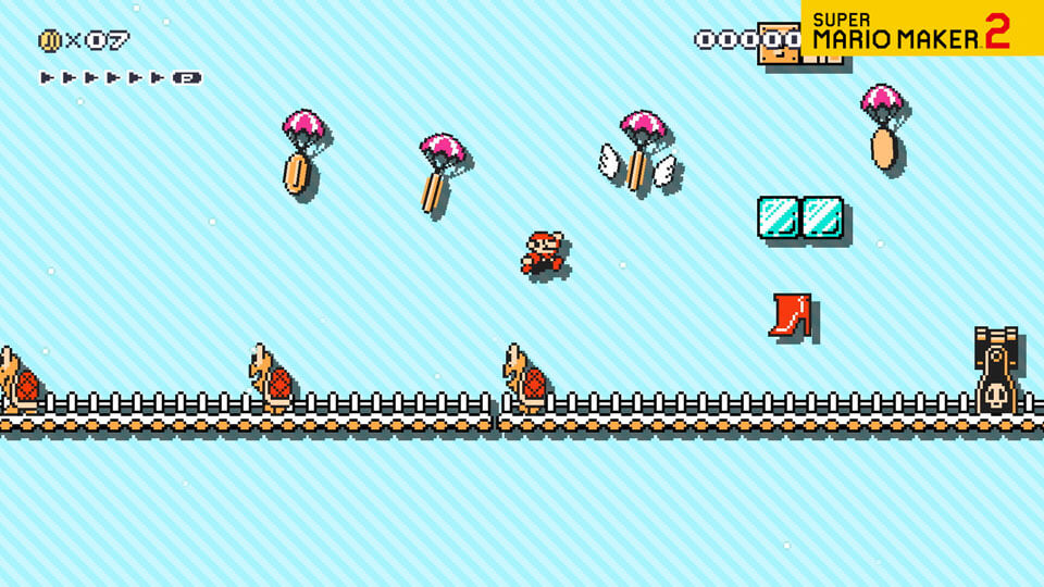 A video of Mario sliping across snowy platforms in a Super Mario Bros. 3 style course.