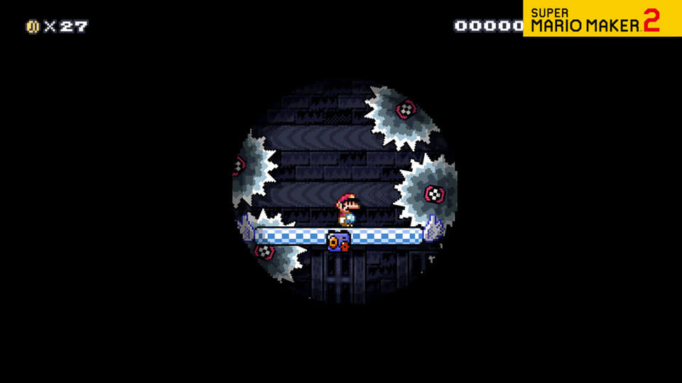 A video of Mario bravely exploring a spooky Ghost House course.