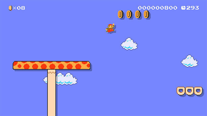 A video of Mario bounding through a brightly colored Sky course.