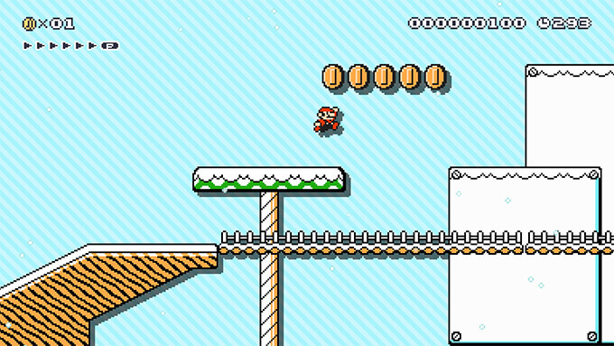 A video of Mario slipping and sliding across an Icy course.
